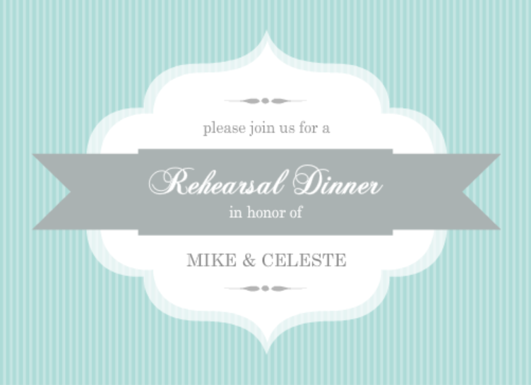 Aqua Stripe Rehearsal Dinner Ideas Invite