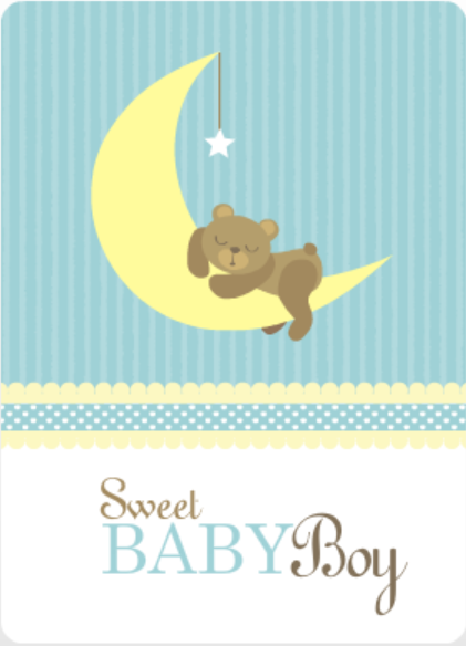 Bear on Moon Baby Blue Printable Baby Shower Game Ideas Invite