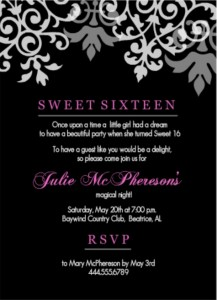 16th Birthday Invitation Wording Ideas From PurpleTrail