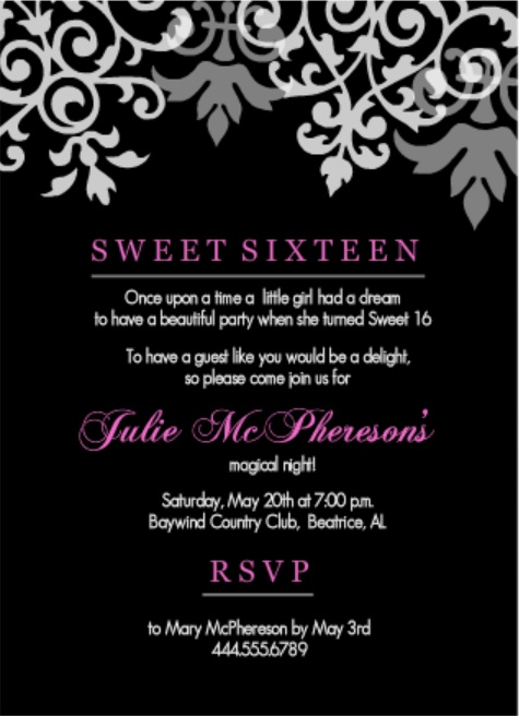 Black And Pink Flourish Sweet 16th Birthday Invitations Wording