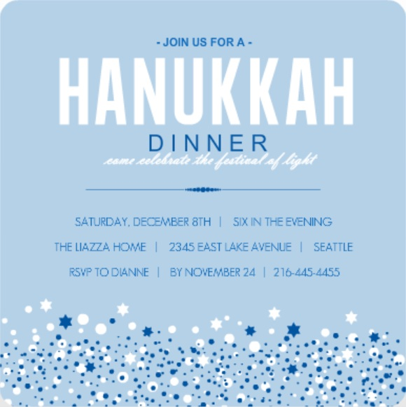 Blue Hanukkah Card Wording Ideas Dinner Invitation