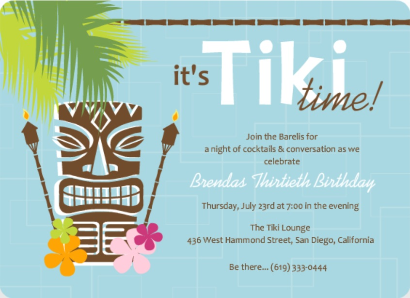 Blue Retro Pattern Tiki Party Invite Kids Luau Birthday Invitation Wording