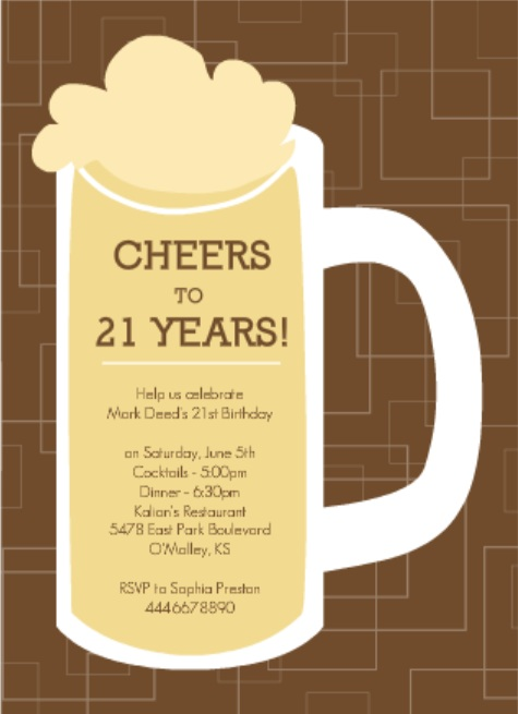 Brown Beers Cheers Set 21st Birthday Invitation Wording
