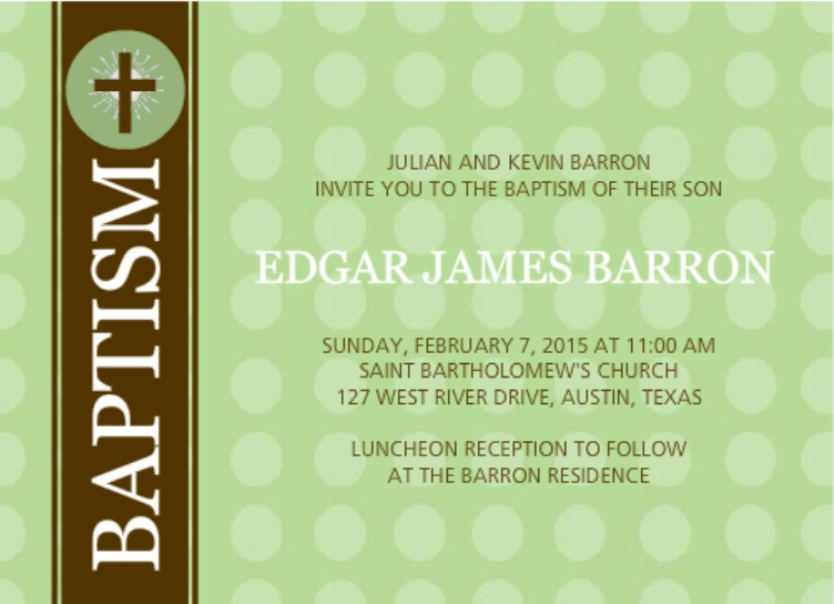 Brown Cross with Green Dots Baptism Invitation Wording Ideas
