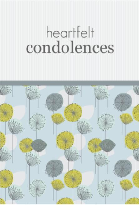 Dandelion Floral Pattern Sympathy Card wording