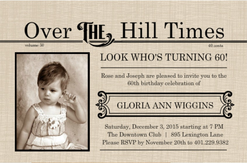 Extra Over The Hill Times Newspaper 60th Birthday Invitation