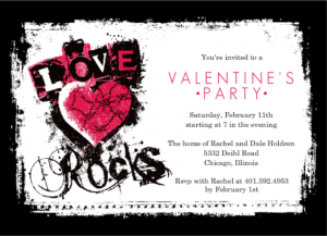 Grunge Love Rocks Teen Valentines Day Party Invitation