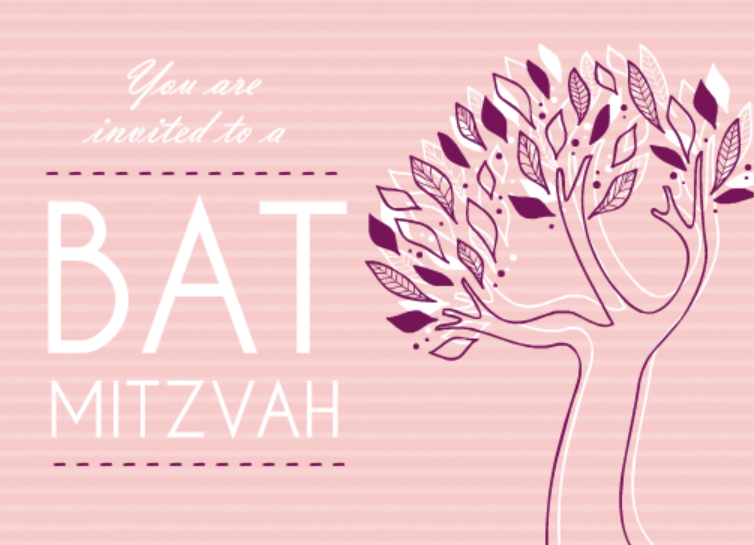 Pink And Purple Tree Bat Mitzvah Invitation Bar Mitsvah Card Wording Ideas