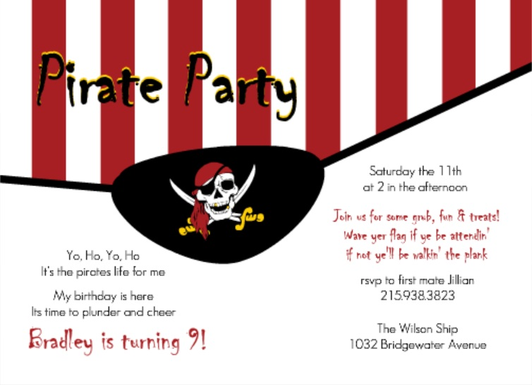 Pirate Eye Patch Birthday Invitation Pirate Speak Tips