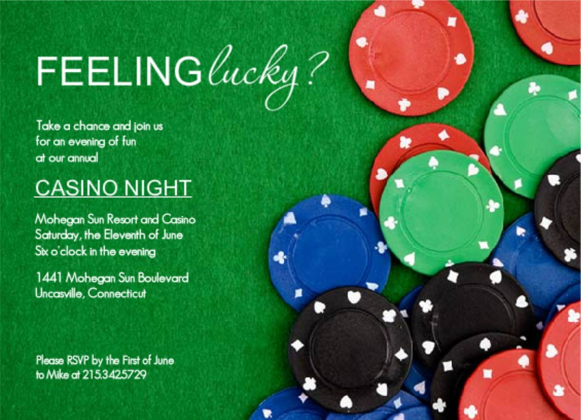Poker Chips At The Table Poker Night Invitation wording