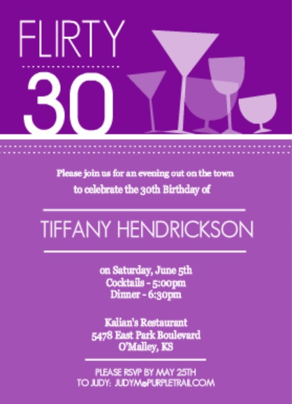 Purple Happy Hour Drinks Birthday Invitation