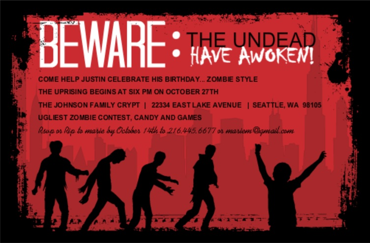 Red And Black Zombie Birthday Set Party Invite Detective Theme