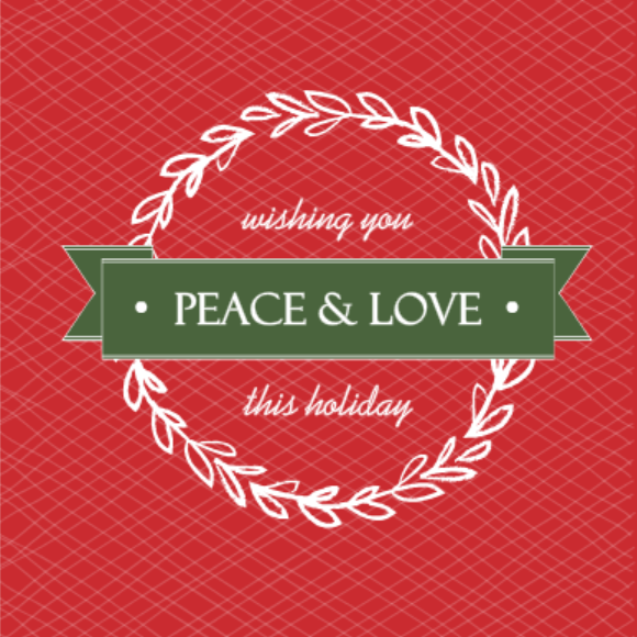 Red and Green Wreath Holiday Card Host Gift Ideas