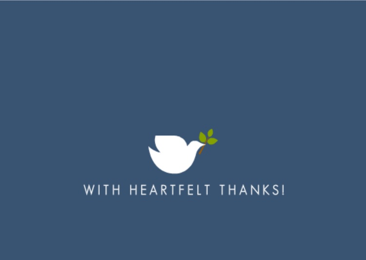 Simple Elegant Dove in Blue (Set) Thank You Card
