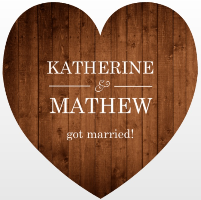 Simple Rustic Wood Heart Shaped Marriage Announcement wording