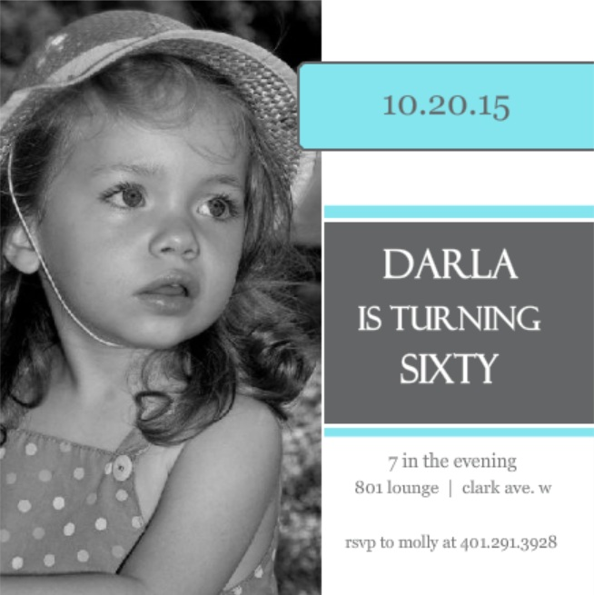 Square Blue And Grey 60th Birthday Invitation Wording