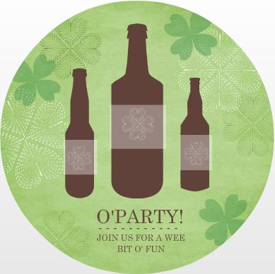 St. Patrick's Day Green Circle Round Beer Party Invite