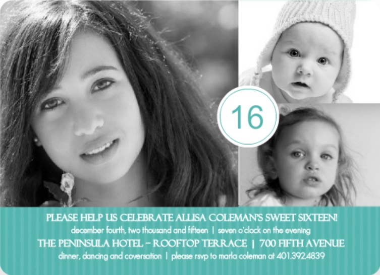 Turquoise Photo Celebration 16th Birthday Invitation Sweet Sixteen Food Ideas