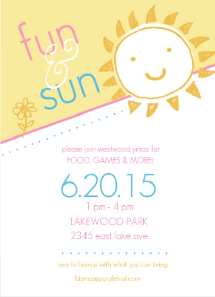 Yellow And Pink Sun And Fun Summer Party Invite Backyard treasure hunt