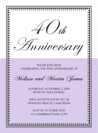 Lavender And White Vintage 40th Anniversary Invite
