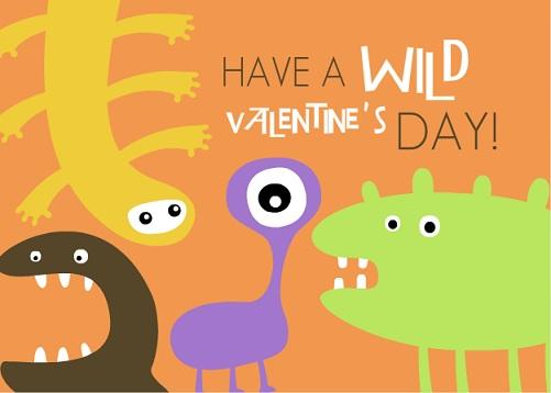 Wild Monster Valentine's Day Card