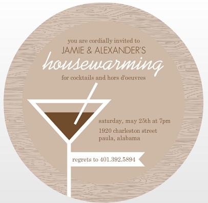 Brown Wood Grain And Martini Housewarming Invitation