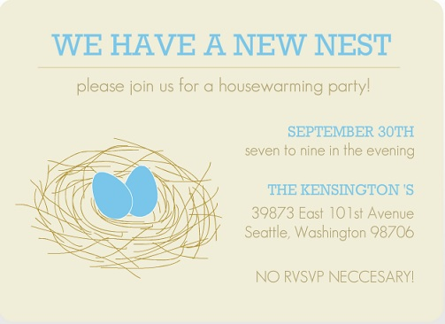 Stylish housewarming party invitations purpletrail new nest housewarming party invitations stopboris Image collections