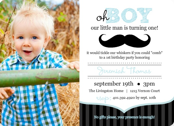 1st birthday invitation wording ideas from purpletrail blue and black moustache 1st birthday invitation stopboris Images