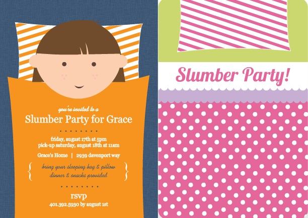 Sleepover games and slumber party ideas from purpletrail sleeping bag slumber party invitations stopboris Image collections