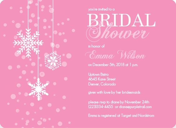 holiday pink bridal shower invitation
