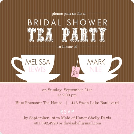 Bridal shower theme ideas bridal shower party planning brown stripes tea cups bridal shower invitation tea party theme filmwisefo Images