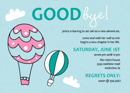 going away party ideas purpletrail balloon farewell invitation - Goodbye Party Invitation