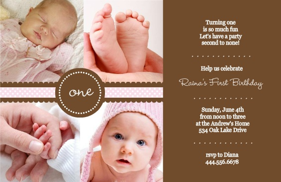 Pink Ribbon First Birthday Invitation