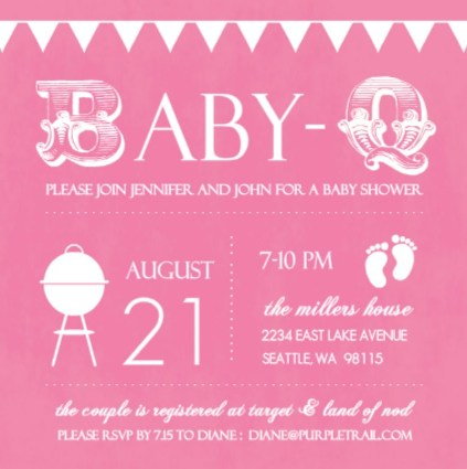 Pink baby shower invitation by PurpleTrail.