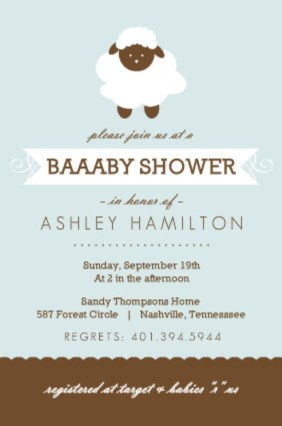 Blue Sheep Baby Shower Invitation By PurpleTrail.  Invitation Wording For Baby Shower