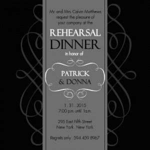 Black and gray rehearsal dinner invitation