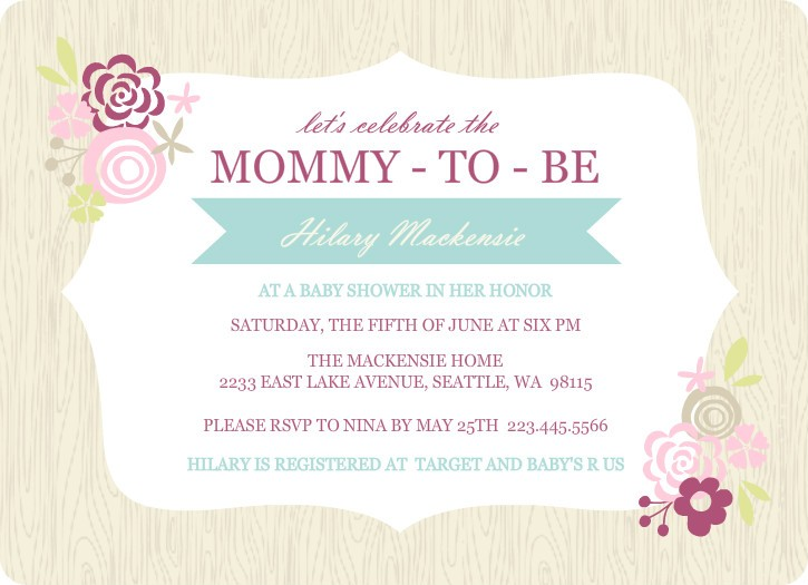 Pink Floral Frame Girls Baby Shower Invite By PurpleTrail.com.