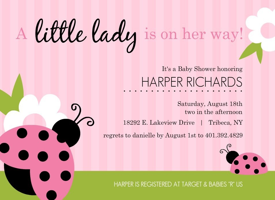 Pink And Green Ladybug Girl Baby Shower Invitations By PurpleTrail.com.