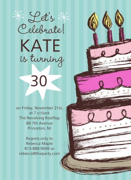Hand Drawn Cake Birthday Party Invite By PurpleTrail