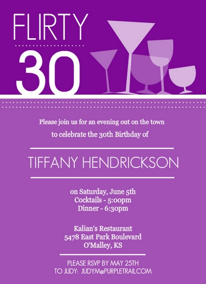 Purple Happy Hour Drinks Birthday Invitation By PurpleTrail