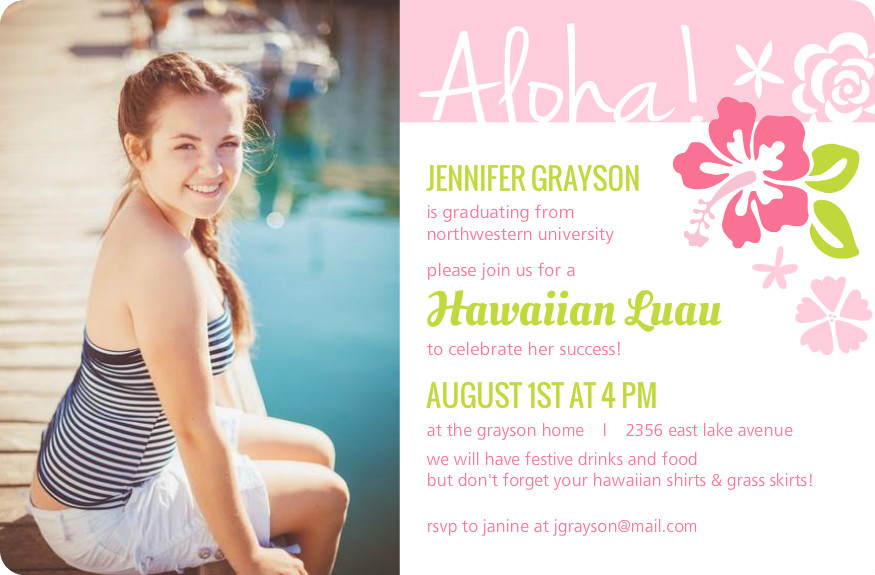 Outdoor Graduation Party Ideas Themes Invitation Wording Pink Hawaiian