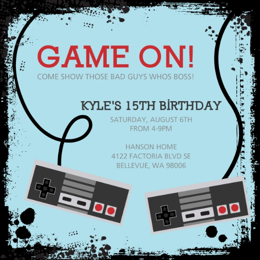 Video Game Controllers Kids Birthday Invitation by PurpleTrail.com.