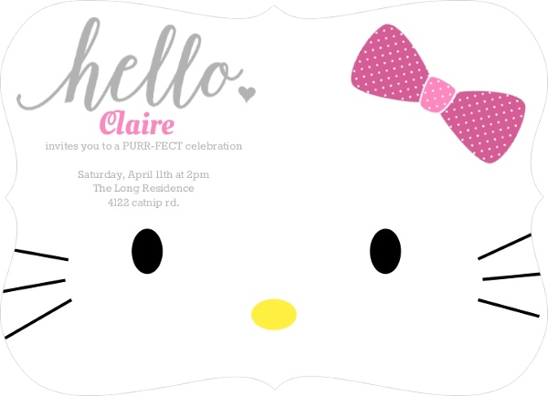 Hello Kitty Birthday Party Ideas Invitations Wording Crafts - Free hello kitty birthday invitation templates