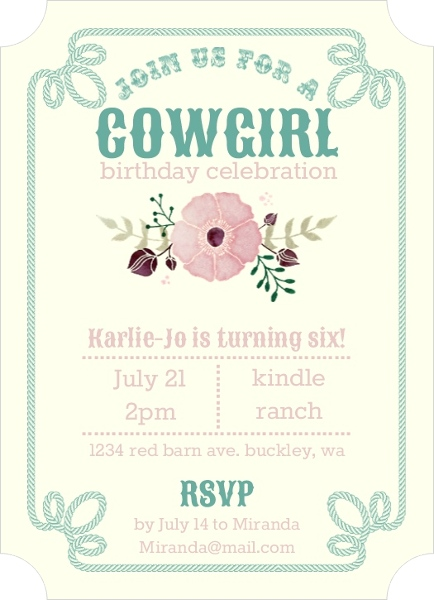 Cowgirl birthday party ideas invitations wording games decorations cowgirl birthday invitations filmwisefo Images