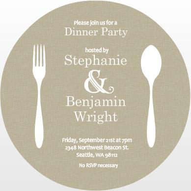 Fork And Spoon Circle Dinner Invite