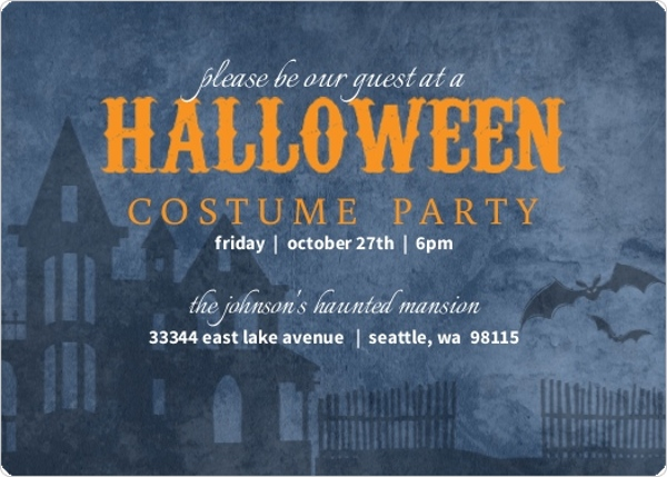 Blue Black Haunted House Halloween Party Invitation by PurpleTrail.com
