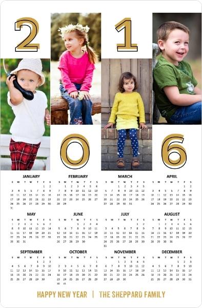 Bold Gold Year Fridge Magnet Calendar by PurpleTrail.com