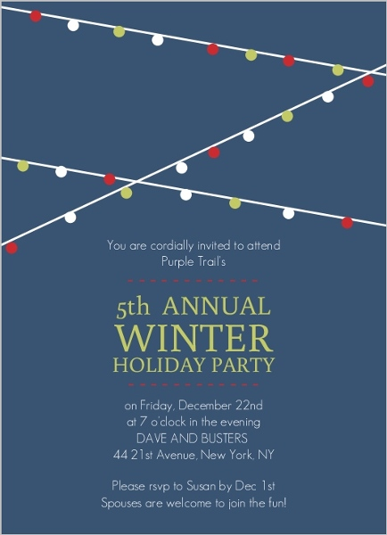 Business Holiday Party Invite by PurpleTrail.com