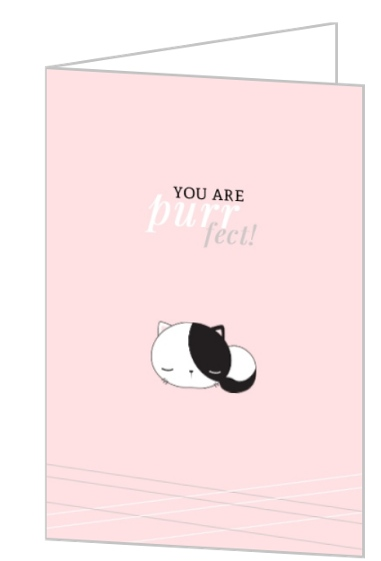 Cute Cat You Are Perfect Valentine's Card by PurpleTrail.com