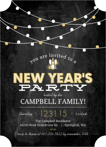 Festive Gold Lights New Years Invitation by PurpleTrail.com